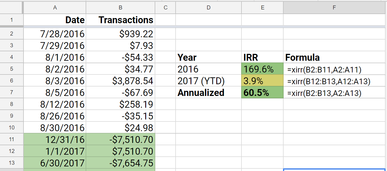 xirr annualized return formula